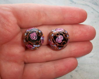 Vintage ITALY MADE Clip On Earrings,Wedding Cake,Art Glass Round,Fiorato,Button earring,Revival,Downton,Brass,Millefiori,fused,black,pink
