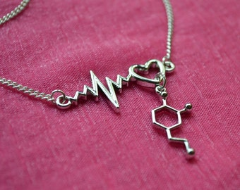 Biolojewelry - Neurotransmitter Dopamine Heartbeat Molecule - Love Necklace