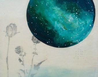 Galaxies - Space Art Print - Full Moon - Goddess - Boho - Bohemian Decor - 5x7 Giclee Print - Boys Room - Galaxy - Night Sky - Stars