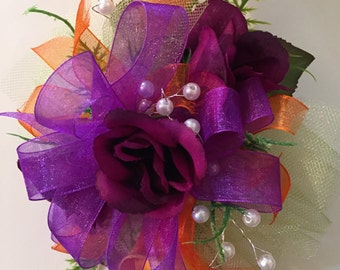 Orange and Purple Silk Wrist Corsage, Clemson Corsage,Prom Silk Corsage