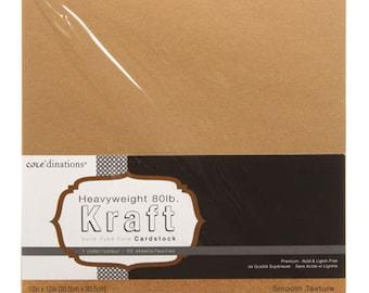 12 x 12 Kraft Card Stock - Core'dinations Card Stock - Heavy Weight Card Stock - Acid Free Cardstock - Kraft CardStock - Kraft Paper - 7-003