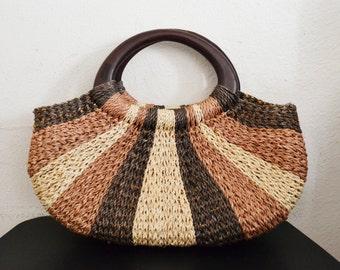 Woven purse,bag,Sisal Purse, Brown, Tan ,Handbag ,Wood Handles