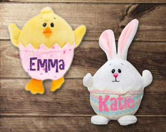 Personalized Easter Basket Filler, Plush Chick, Plush Bunny, Easter, Springtime