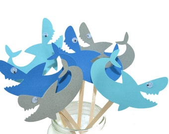 12 Shark Cupcake Toppers / Shark birthday Party / Shark Birthday Invitation / Shark Decor / Shark Sign /Shark Week / Jaws / Under the Sea