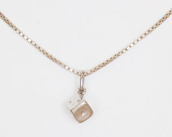 Minimalistic Silver Cube Necklace/ Chain with Dots