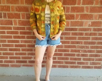 Vintage 1960s 60s Mod floral wool cardigan cape style sweater Filene's french shops made in Italy fall colors green orange womens small