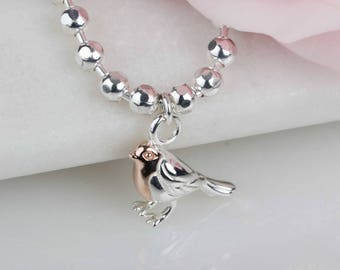 Beaded Rose Gold And Solid Silver Robin Bracelet