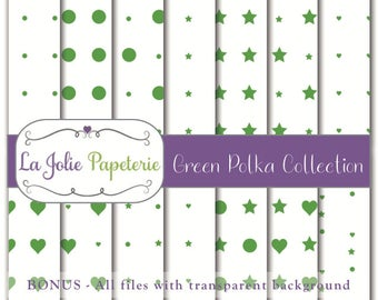 Green Polka Collection (Digital Paper) - Patterns for Scrapbooking, Invitation, Card, Planners, Baptism, Nursery, Birthday, Baby Shower