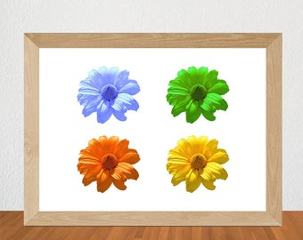 Printable Orange, Blue, Yellow, Green Daisies Print, Digital Download Daisies Print, Instant Download Daisy Print, Flower Print, Floral Art