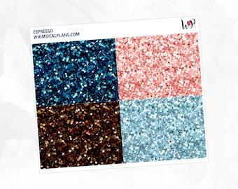 Espresso Glitter Headers | Matte Glossy Planner Stickers