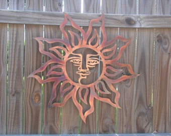 CNC Plasma Cut Blazing Sun Copper and Torch Patina 22 Inch Metal Wall Art Hanging