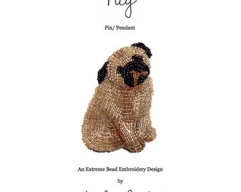 PDF file: PUG Dog Pin Pendant Beaded Animal Beading Pattern Tutorial (For Personal Use Only) Free Ship