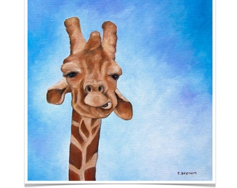 giraffe. fine art print. zoo. animal. safari. wild animals. giraffes. africa. big game. print of original painting. norman. traciebrownart.