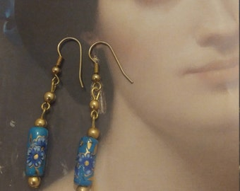 Boho earrings. Floral earrings. Blue earrings. Victorian floral earrings. Turqouise boho earrings.