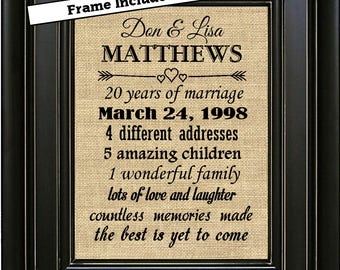 Framed th anniversary gift for couple th anniversary