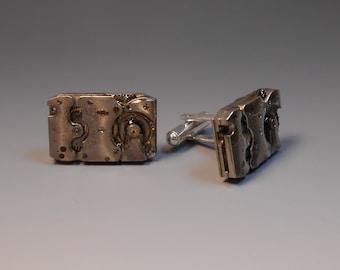 Cufflinks Genuine Watch Movement Upcycled Steampunk Cufflinks Wedding Anniversary Gift Groom Watch Part Jewelry Elgin