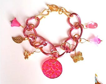 """Pink bracelet chain links pendant charms beads """"Rosy"""" rose gold plated"""