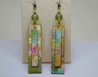 Paper Collage Earrings, Watercolor Earrings, Pastel Colors, Paper Anniversary Gift, Mother's Day Gift
