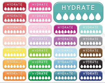 Hydrate Clipart Hydrate Clip Art Rainbow Hydration Life Planner Sticker Clipart Bottles Water Clipart Drinking Reminder Hydrate Tracker
