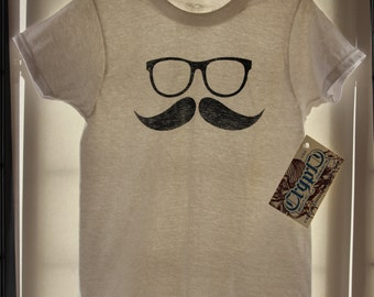 "Glasses & Moustache T-Shirt. Toddlers. ""Glass and 'Stache"". Hipster Design. Screenprinted Cotton Tshirt"