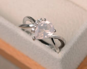 Engagement ring, natural pink quartz ring, pear cut pink gemstone, sterling silver ring