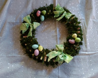 Easter, spring or mothers day wreath or centerpiece. Created for gift giving, decorating,