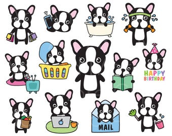 French Bulldog Clipart Boston Terrier Clipart Dog Clipart Dog Planner Sticker Clipart Dog Chore Clip Art Dog Life Activity Clipart