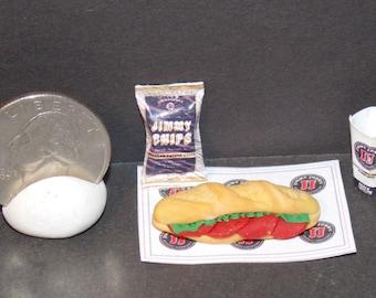 Dollhouse Miniature Food Sub Sandwich Combo 1:12 one inch scale
