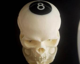 Reverse 8 ball skull Billiard ball skull carving  pool ball skull memento mori day of the dead dia de los muertos skulls