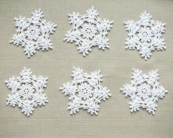 Christmas decors Crochet snowflakes Christmas ornaments Wedding decors appliques (set of 6)