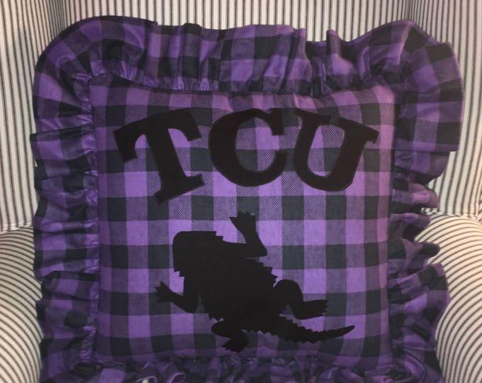 Purple Buffalo Plaid Checked Ruffled TCU Horned Frog Pillow 16x16 Pillow Cover TCU home Decor TCU pillow Farmhouse Decor Farmhouse Christmas