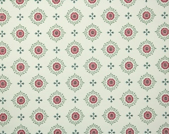 1940s Vintage Wallpaper by the Yard - Red Blue and Green Geometric