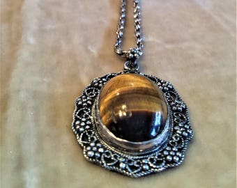 Vintage Silver Tigers Eye Necklace