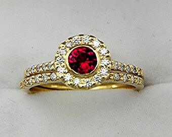 AAAA Rubellite Tourmaline Very RARE Brilliant Red Round   5.0mm  .55 Carats   14K Yellow gold diamond bridal set 0871 MMMM