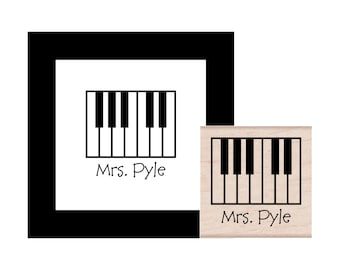 Piano Keyboard Personalized Rubber Stamp