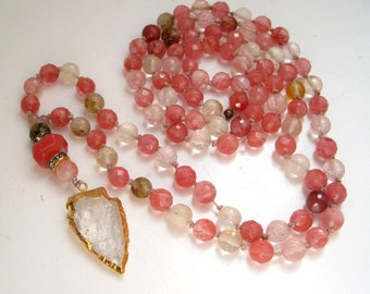Cherry Quartz Arrowhead Necklace / Crystal Arrowhead / Long Boho Beaded Pendant / Handknotted Beadwork / Semi Precious Stone Necklace