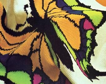 1970s Sprightly Butterfly Crochet Blanket PATTERN