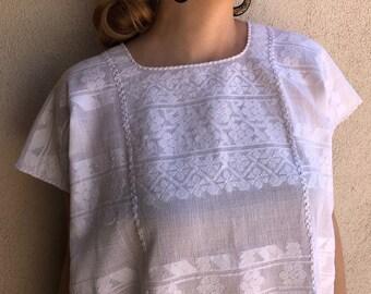 "Mexican huipil handwoven white tunic wedding Amuzgos Oaxaca boho resort Frida Kahlo Large 25""W x 30""L"