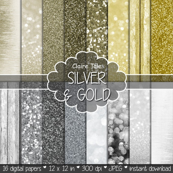 Digital bokeh and glitter: SILVER & GOLD PAPER with glitter and bokeh background/backdrop for photographers / gold silver paper