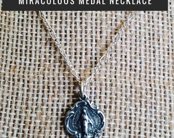 Sterling Silver Miraculous Medal Necklace, Catholic Jewelry, Christian Jewelry