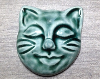 Kitty Face Ceramic Cabochon Stone in Peacock