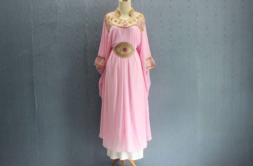 Bridesmaid Light Pink Wedding Gown Dress Kaftan Plus Size Gold