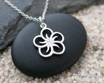 Five Petal Flower Necklace, Sterling Silver Flower Charm, Nature Jewelry