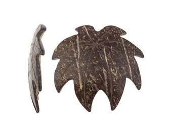2 Big Leaf Wood Coconut Pendants