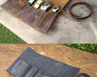 Vintage Leather Brown/ Black Watch Roll, Watch Case, Pencil Roll, Watch Sleeve, Genuine Leather Tool Roll, Pencil Case Roll, School Roll
