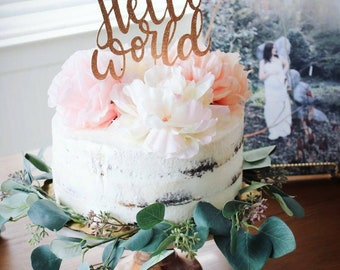 Hello World Cake Topper // Baby Shower Topper // Rose Gold Glitter, One Topper