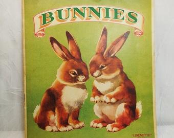 Bunnies, Linenette Trade Mark, Sam'l Gabriel Sons & Company New York, 1930s, Vintage Children's Book
