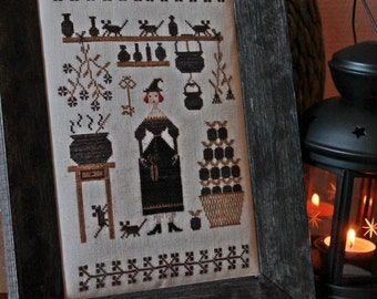 Witch's Kitchen / Primitive Cross Stitch Pattern /PDF