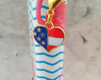 Stars and Stripes Planner Charm// Red, White and Blue Stitch Marker// Patriotic Zipper Charm