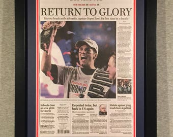 New England Patriots - 2015 Super Bowl XLIX Champions - Boston Globe Front Page - Double Matted & Framed (Official Team Colors)